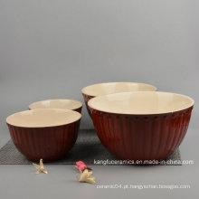 4PCS Tigela De Louça De Cerâmica Vitrificada Colorida