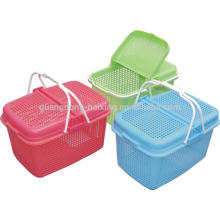 2015 New fashion food storage with handle,Empty leisure baskets with lid