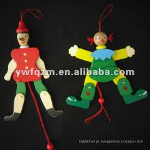 novo design boneca de corda de madeira para brinquedos das crianças
