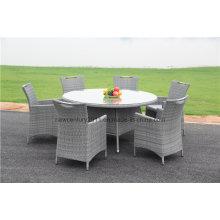 Mesa de jantar redonda grande de vime ao ar livre do jardim do Rattan e cadeira