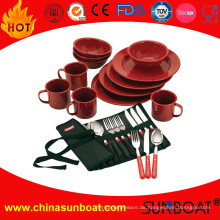 Küchengerät Geschirr Emaille Dish Set mit Besteck und Becher