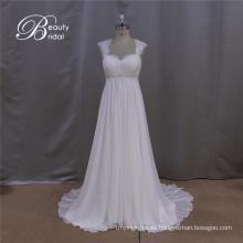 Notas de vestido de novia de gasa de línea simple