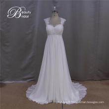 Simple A-Line en mousseline de soie Robe de mariée Notes