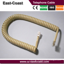 Cream color handset Telephone Extension Spiral Coil Cable Cord