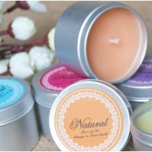 Aromatic soy wax candles--non toxic with cotton wick in tin