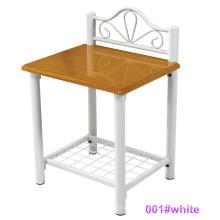 Mesa de noche moderna de la tabla de cabecera de la madera y del metal (001 # blanco)