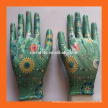 Printed Liner Ladies Garden Gloves Thin Lightweight Nitrile Gloves Flower Nitrile Work Gloves