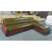 Sofá de couro em forma cor verde L moderno (C22)