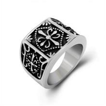 Крест кольцо старинные цветок матовый черный нержавеющей стали 316L