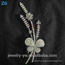 Alta qualidade sliver chapeado princesa cristal borboleta bridal pentes metal cabelo acessórios