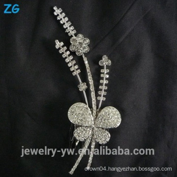 High quality sliver plated princess crystal butterfly bridal combs metal hair accessories