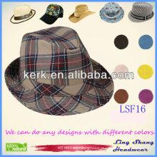 Hot vendendo mais recente Cheque tecido à moda Fedora Hat loja loja comprar chapéus, LSF16