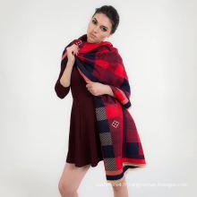 Les femmes de couleur claire à la mode élégant longtemps vérifié à carreaux doux La bonne qualité de coton viscose à tricoter écharpe