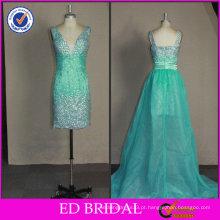 2017 ED Bridal OEM OEM de alta qualidade frisado com trem desmontável Fotos reais de vestido de cocktail