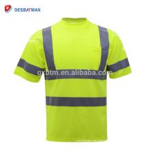 Camiseta de clase 2 de verde lima de alta visibilidad Ropa de trabajo de seguridad de cuello redondo con rayas reflectantes y bolsillo