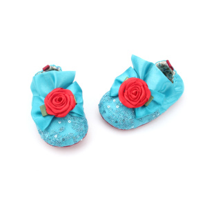 Blue Baby Cotton And Sequins Cute Cuna Zapatos
