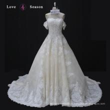 WX16127 marfim luxo elegante sirena estilo perfeito rendas buraco da fechadura vestido de casamento manga