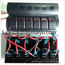 Af6 Gang LED Boat Caravan Circuit Panel de interruptor de balancín Auto Fuse Holders