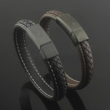 factory customized for Men'S Leather Bracelet Magnetic Clasp With Braided Genuine Leather Bangle Bracelet supply to Poland Factories