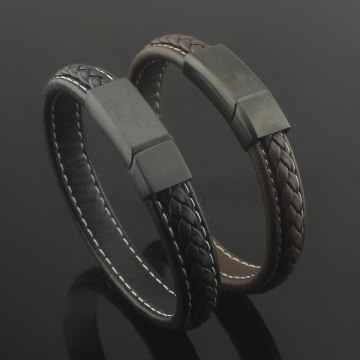 China for Leather Bangle Bracelet Magnetic Clasp With Braided Genuine Leather Bangle Bracelet export to Spain Factories