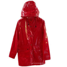 Red Hooded Button*Pocket Solid PU Raincoat for Adult