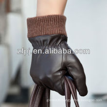 fashion sheepskin men touch screen leather gloves with knitted cuff smart phone leather gloves