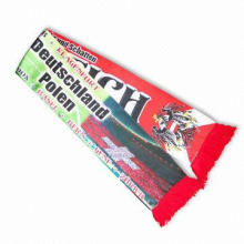 Dye sublimate-printed football scarf, made of 110g knitted polyester
