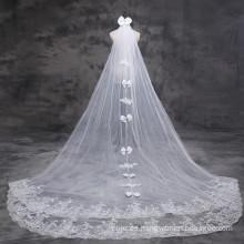 2017 Suzhou Tulle Lace Appliqued Bachelorette Bowknot Hochzeit Brautschleier lang