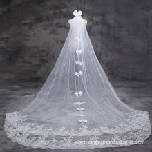 2017 Suzhou Tulle Lace Appliqued Bachelorette Bowknot Wedding Bridal Veils Long