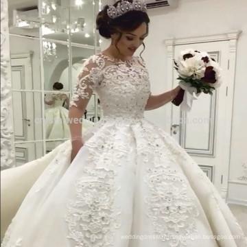 Luxury Full Pearls 2017 Muslim Long Sleeves Ball Gown Wedding Dress MW971