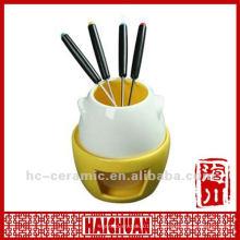 Ensemble de fondue en céramique chinoise, brûleur fondue en céramique