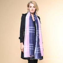 Frauen-Art- und Weiseüberprüfte Muster-100% Kaschmir-Winter-Schal (YKY4519)