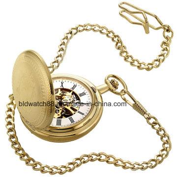 Doppel-Öffnen-Jäger-Taschen-Uhr-Kette der kundenspezifischen Goldton-Männer