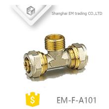 EM-F-A101 encaixe de tubulação de bronze latão macho compressão tee