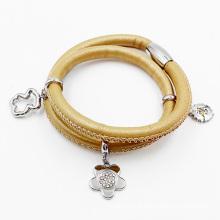 Bracelete de couro envolvido moda, bracelete feito-à-medida do couro do encanto