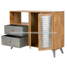 Industrial Mango Wood and Metal 2 Drawers 1 Door Sideboard