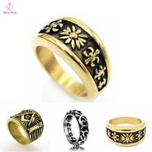 Joyería de los anillos de oro de la manera los 7MM de la vendimia para los hombres, nuevos modelos del anillo de oro de los hombres