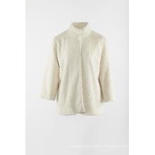 Куртка из искусственного меха цвета слоновой кости с воротником-стойкой