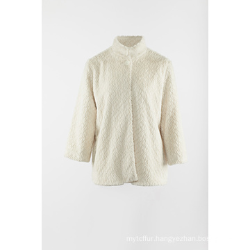 Ivory fake fur jacket with stand collar