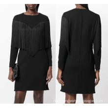 Loose Black Tassel Woven Dress