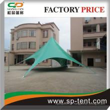 Pop up affichant une tente étoile avec un logo brillant personnalisé imprimé