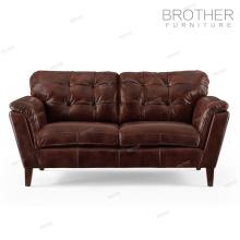 Nouveau design vintage style américain en cuir véritable deux sièges canapé meubles