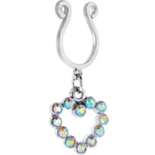 Aurora Hollow Heart Clip On Nipple Ring