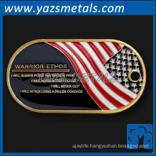 customize metal dog tags, custom high quality warrior ethos dog tag