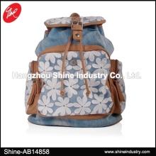 Denim Backpack/White Lace Jean Cloth Leisure Bag/Top Fashion Backpack Bag