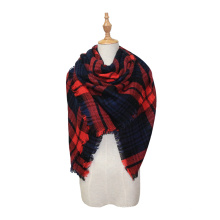 Comfortable wild thick soft plaid big lady sweet scarf warm couple temperament simple scarf cute knit shawl