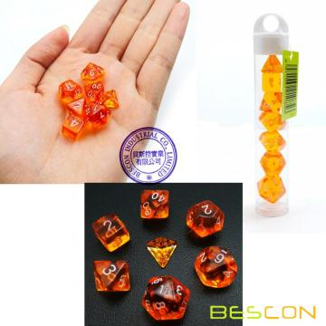 Bescon Mini Translucide Polyédrique RPG Dice Set 10MM, Petit jeu de rôle RPG Jeu Dice Set D4-D20 en Tube, Orange Transparent