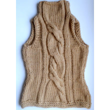 Hand Knit Women Winter Sweater Vest Handmade Knitted Wool Accessories