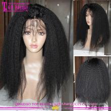 Cabelo humano virgem brasileiro glueless kinky em linha reta cheia do laço perucas