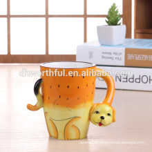 Decorative ceramic animal mug,ceramic dog mug for wholesale
